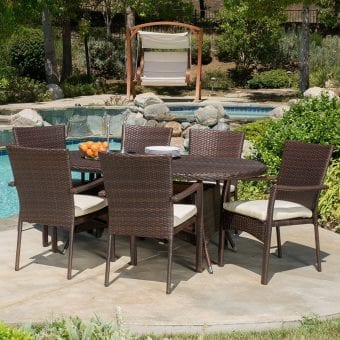 Lancaster Outdoor 7PC Brown Wicker Dining Set
