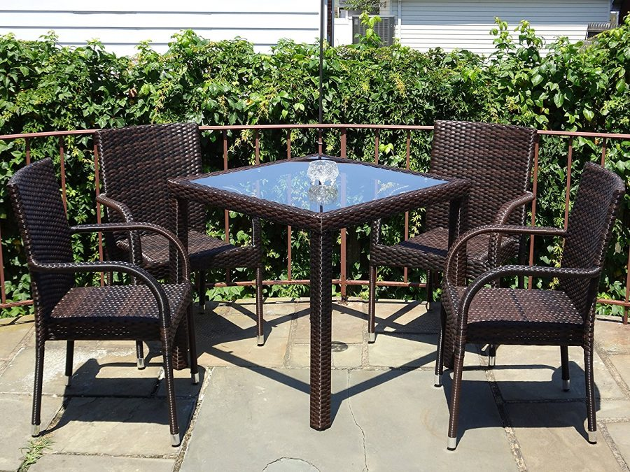 Outdoor resin patio 5pc wicker dining set for Resin wicker patio furniture