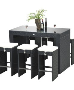 14-outsunny-7pc-black-wicker-barstool-dining-table-247x300 The Best Wicker Dining Sets You Can Buy