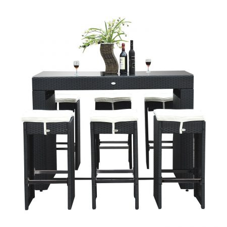 14b-outsunny-7pc-black-wicker-barstool-dining-table-450x450 Best Outdoor Wicker Patio Furniture