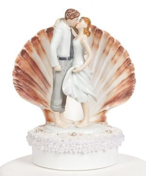 Bride Groom Seashell Beach Wedding Cake Topper