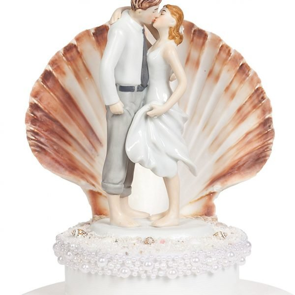 Bride Groom Seashell Beach Wedding Cake Topper