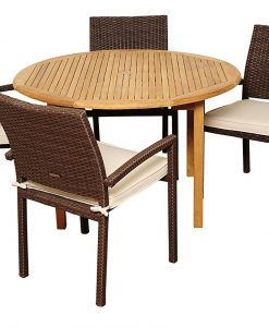 Amazonia Wicker Teak Colorado Round Dining Set