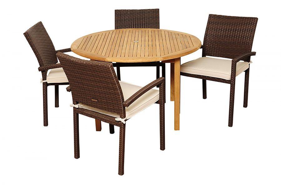 Amazonia wicker teak colorado round dining set