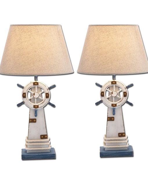 Shipwheel Lighthouse Nautical Table Lamp