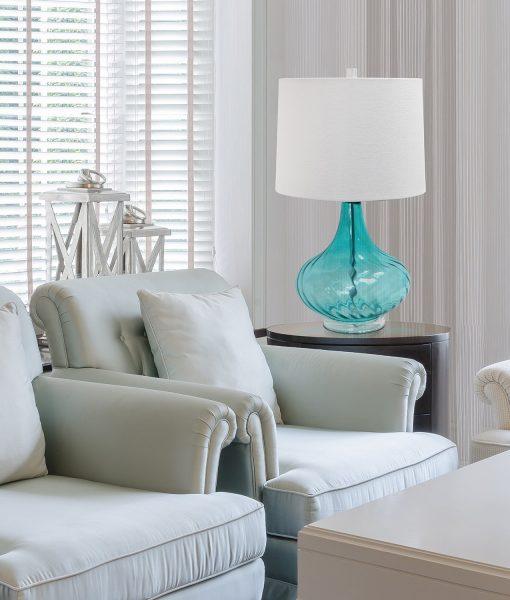 Elegant Designs Blue Glass Coastal Table Lamp