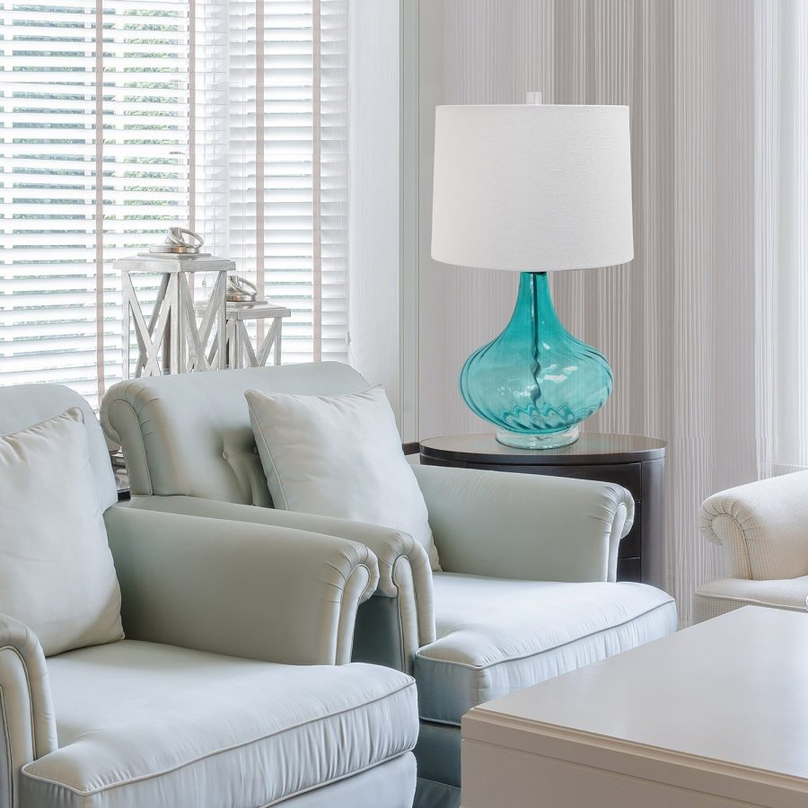 Elegant designs blue glass coastal table lamp for Classy beach decor