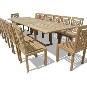 Windsor 15-PC Genuine Grade-A Teak Dining Set