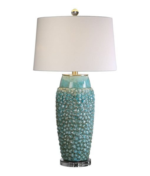 Textured Turquoise Embossed Coastal Table Lamp