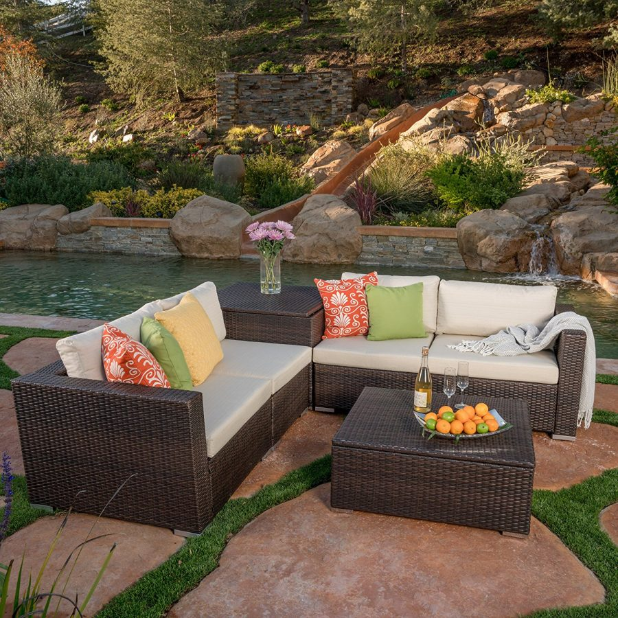Outdoor 6PC Wicker Sectional Sofa