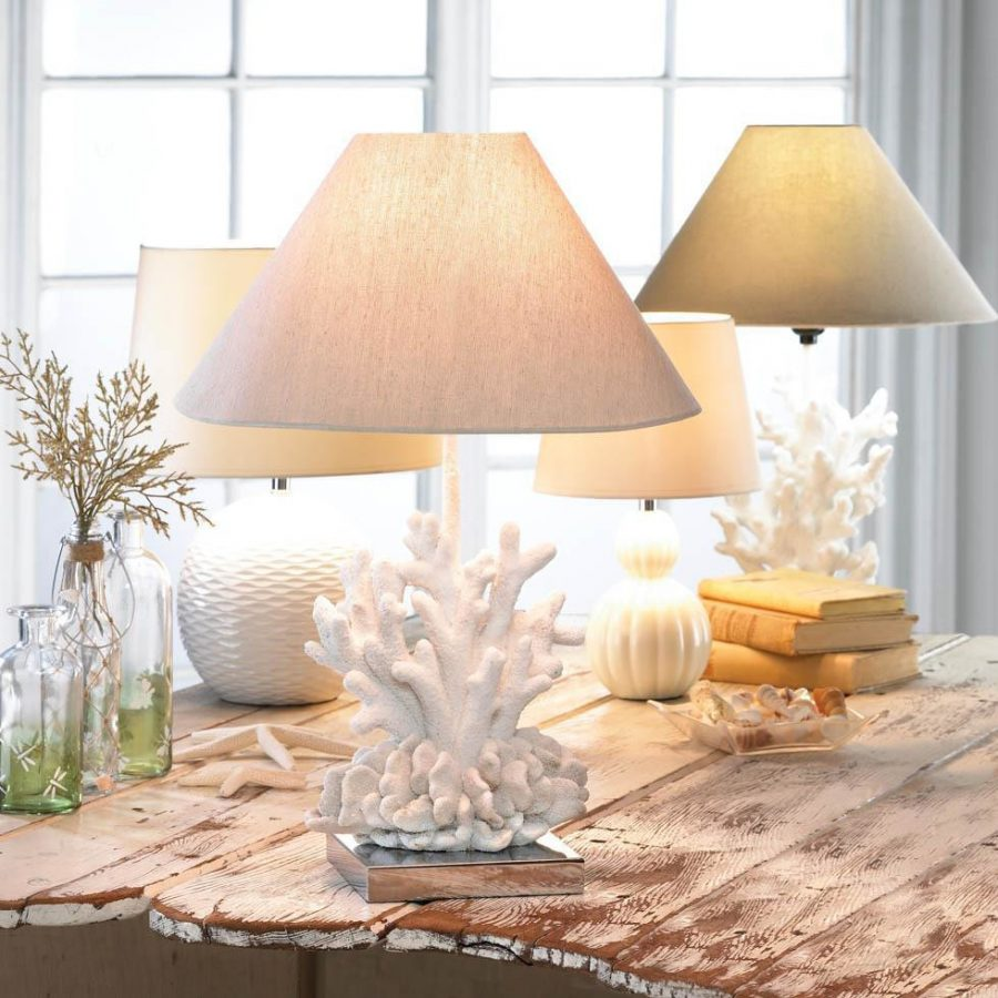 1b core of decor white coral table lamp. Black Bedroom Furniture Sets. Home Design Ideas