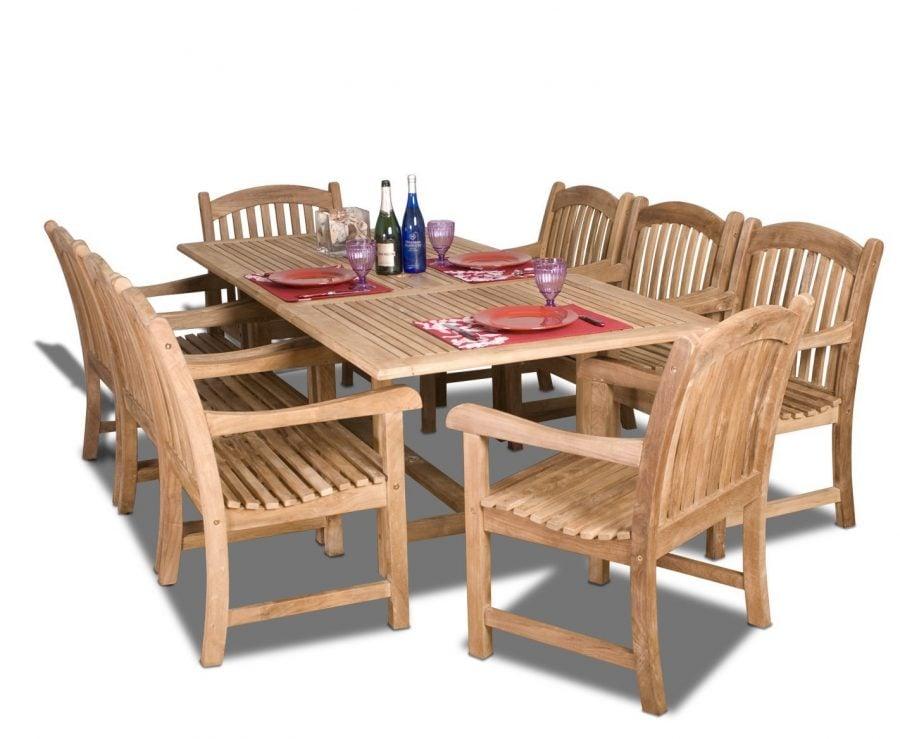 Amazonia teak newcastle 9 pc dining set for Teak wood furniture