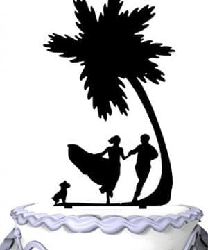 Meijiafei Bridge Groom Dog Palm Tree Cake Topper