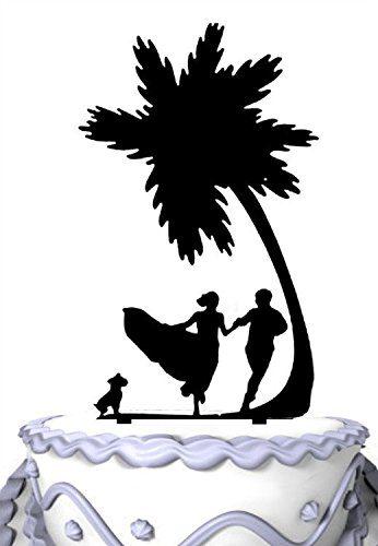 2-meijiafei-bride-groom-dog-palm-tree-cake-topper The Best Palm Tree Wedding Cake Toppers