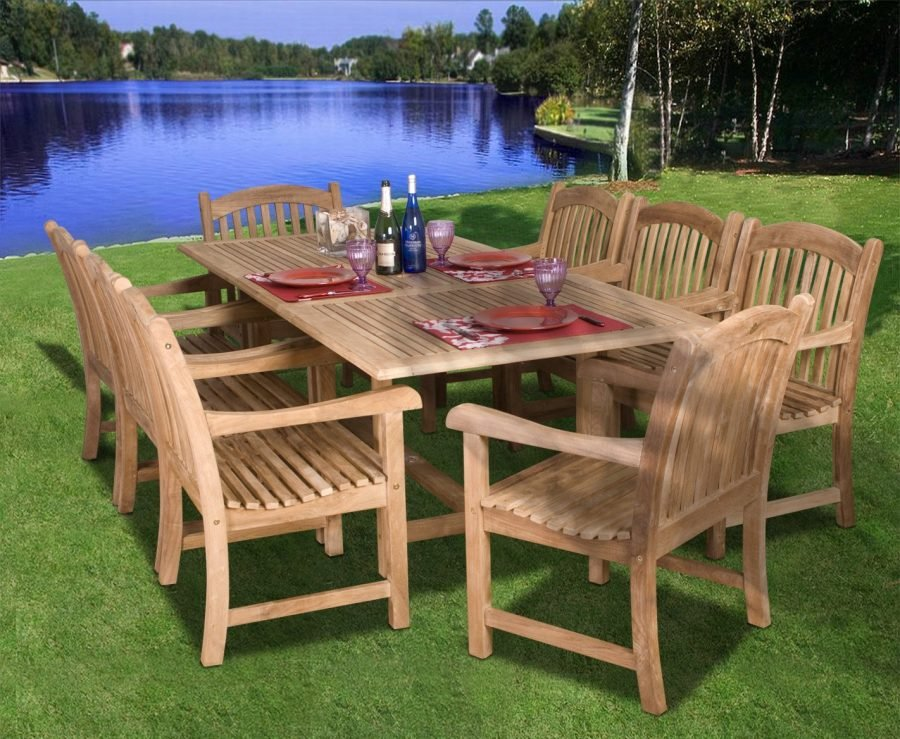 Amazonia teak newcastle 9 pc dining set for Furniture home store newcastle