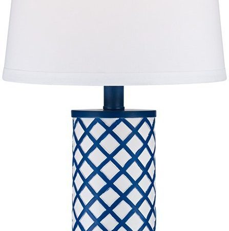3-gisele-blue-lattice-column-table-lamp-447x450 100+ Coastal Themed Lamps