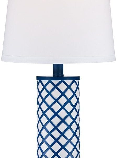 Gisele Blue Lattice Column Table Lamp