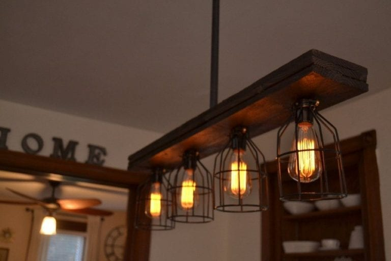Triple Wood Light With Metal Cages