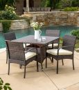 Carmela 5PC Small Outdoor Wicker Dining Set