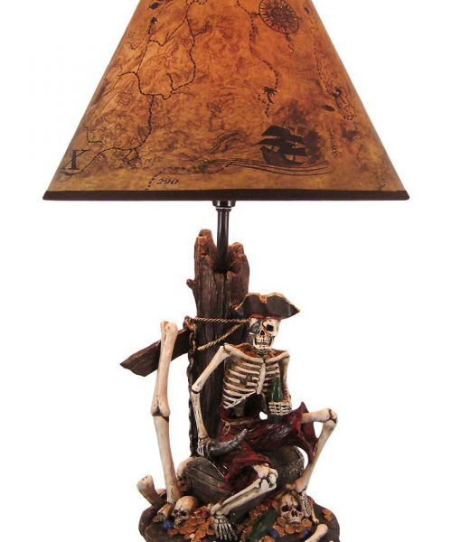Pirate Skeleton Island Treasure Table Lamp