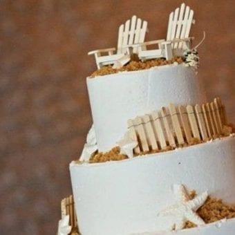 Wood Adirondack Chairs Beach Wedding Cake Topper