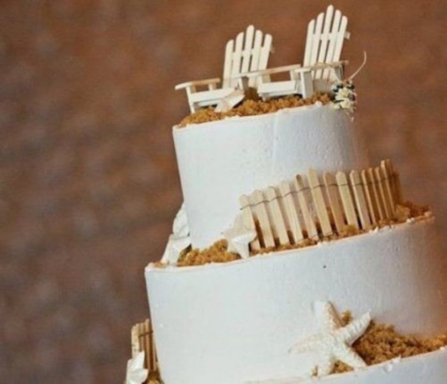4 Wood Adirondack Chairs Beach Wedding Cake Topper Nautical ...