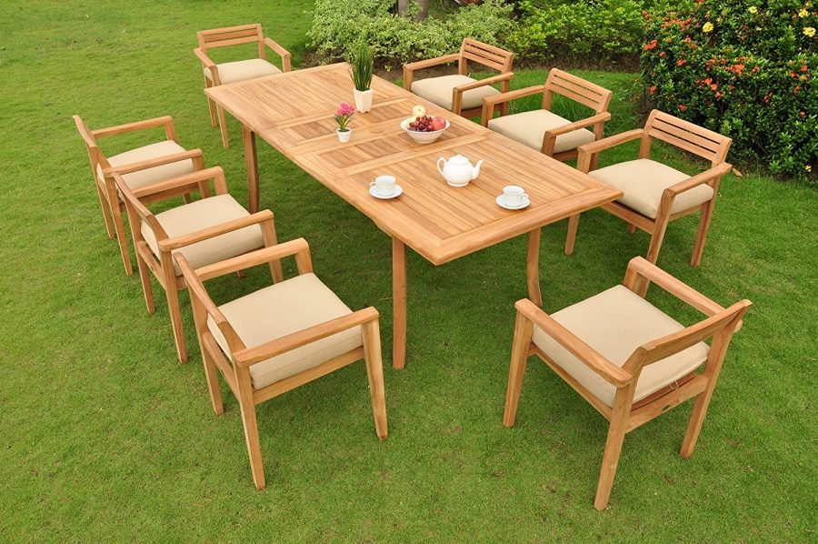 Pc grade a teak wood dining set