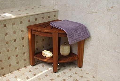 "Original Kai 15.5"" Corner Teak Shower Bench"