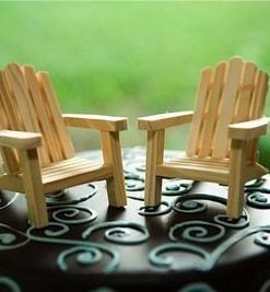 wood adirondack chairs beach wedding cake topper
