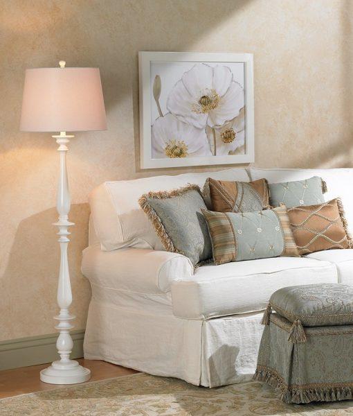 Coastal White Tall Floor Lamp