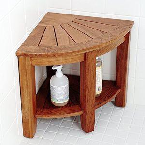 "Welland 2 Tier 15.5"" Teak Corner Shower Bench"