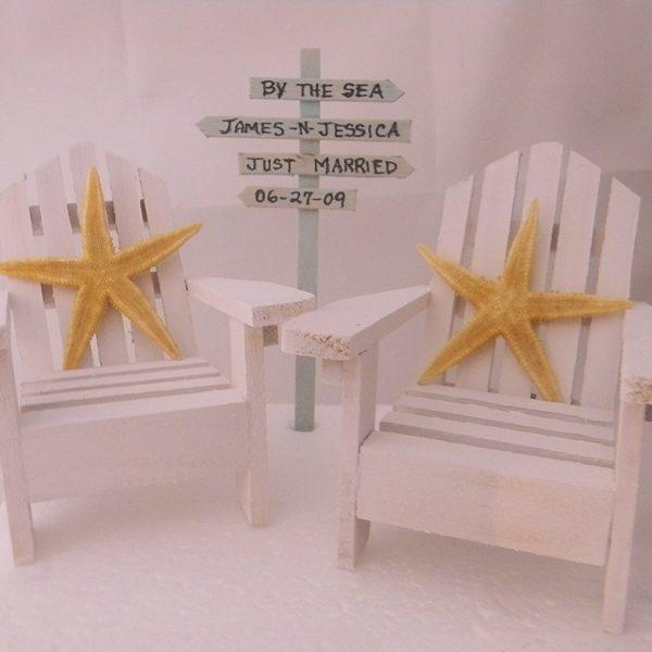 Adirondack Chairs Starfish Beach Wedding Cake Topper