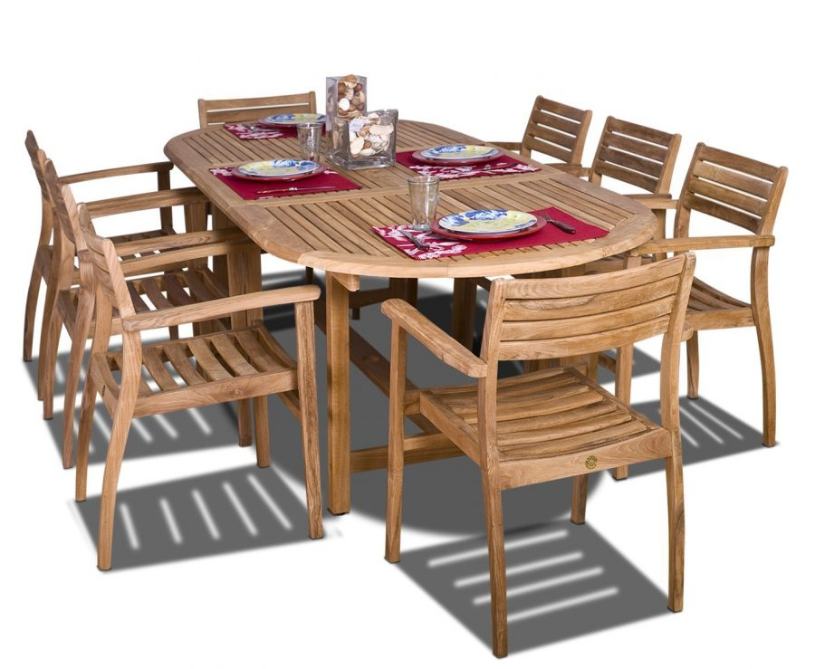 Amazonia Oval Coventry Teak Dining Set - Best teak outdoor dining table