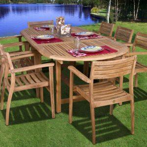 Amazonia Oval Coventry Teak Dining Set