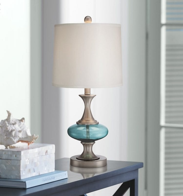 Reiner Blue Glass and Steel Table Lamp