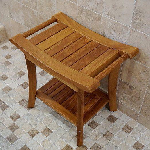 Welland 19 5 Quot Teak Shower Bench With Handles