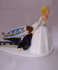 Surfing Groom and Bride Tropical Wedding Cake Topper