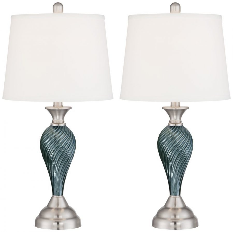Best beach themed lamps beachfront decor 7 arden dark blue green twist column table aloadofball Images