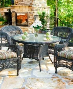 Tortuga Dark Roast 5PC Wicker Dining Set