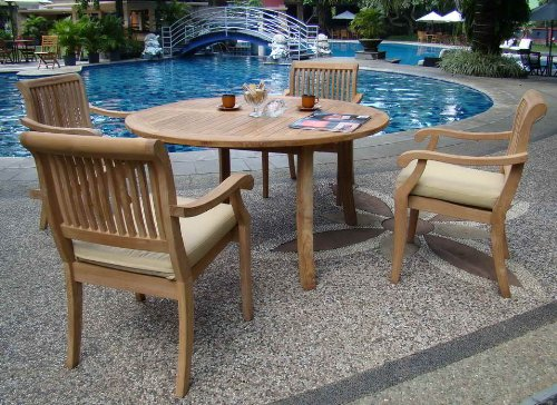 Grade-A 5-PC Round Teak Dining Set