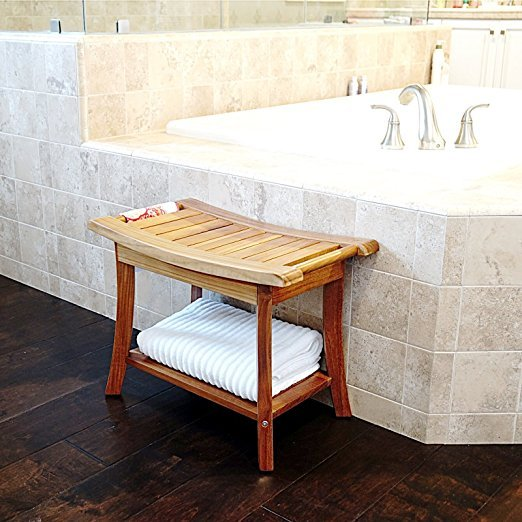 Welland 24 Teak Shower Bench With Handles