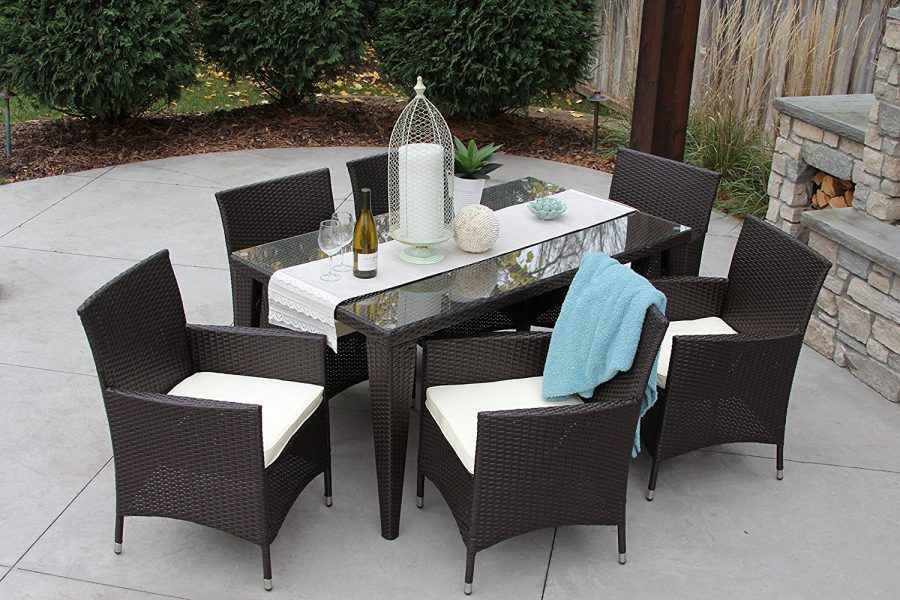 all weather outdoor wicker dining set beachfront decor