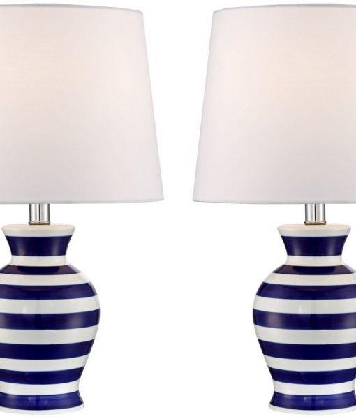 Camden Dark Blue and White Stripe Nautical Lamp