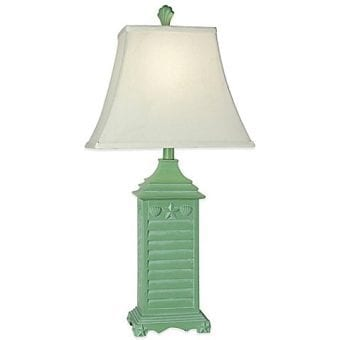 Coastal Green Shutter Seashell Table Lamp