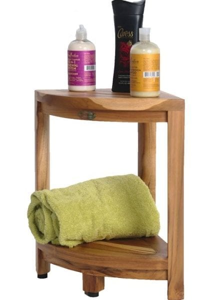 Eco Decors EarthyTeak Corner Shower Bench