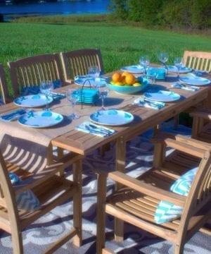 Grade-A Teak Wood 9-PC Patio Dining Set