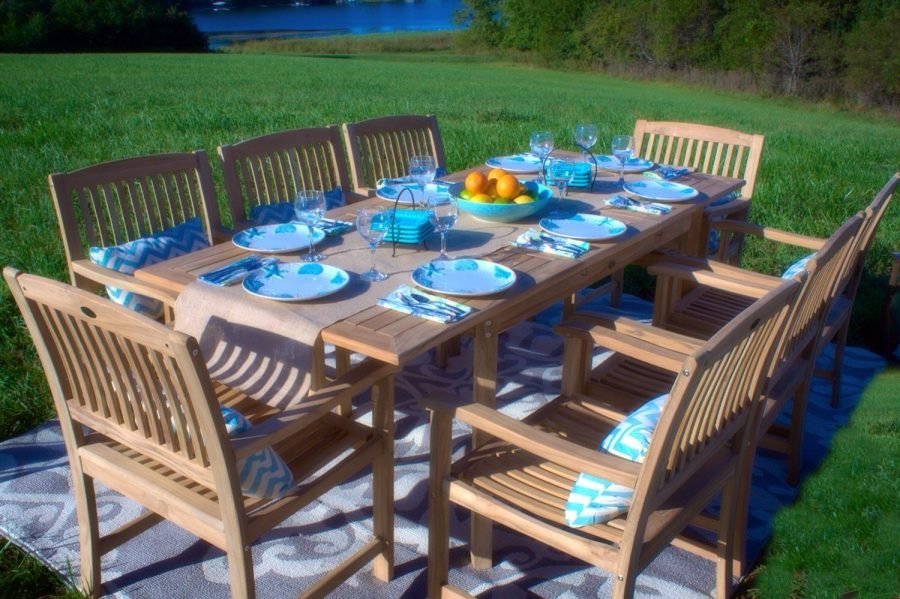 Grade a teak wood pc patio dining set