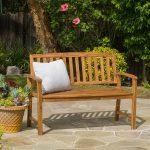 Tamika Teak Finish Brown Wood Bench