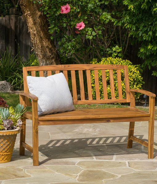 Tamika Teak Finish Brown Wood Bench