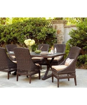 Woodbury 7PC Patio Brown Wicker Dining Set
